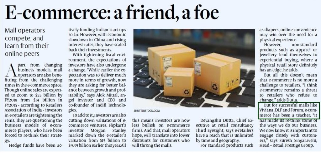 Ecommerce: A Friend, A Foe featured in Newspaper Article- Viviana Mall